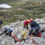 Rigging training in the summer above Chimney Pond.
