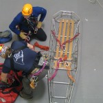 Mark and Walter practice patient rigging at Sterling Rope's interior facility.