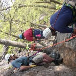 WRT members work on rescue rigging outdoors.